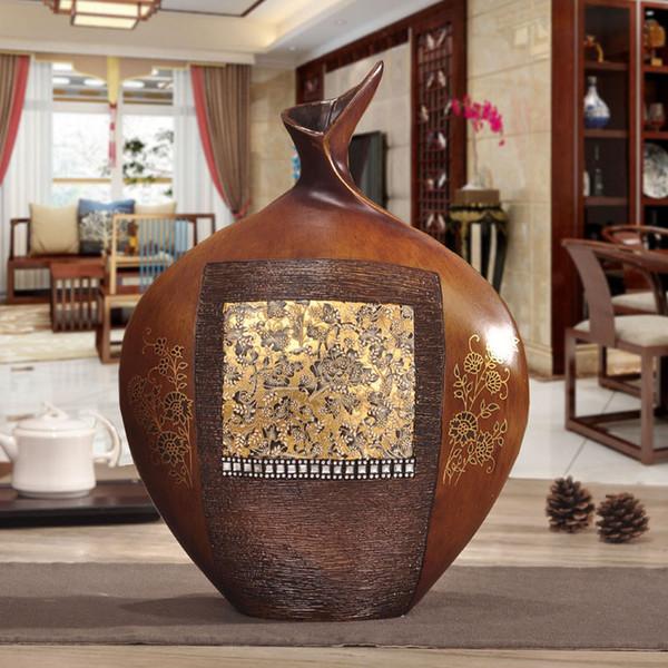 Bois petit vase ornements style européen rétro ameublement d'enrichissement porche salon meuble TV armoire décor