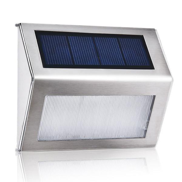 2 LED in acciaio inox ad Alimentazione Solare Luce a Parete da giardino porta