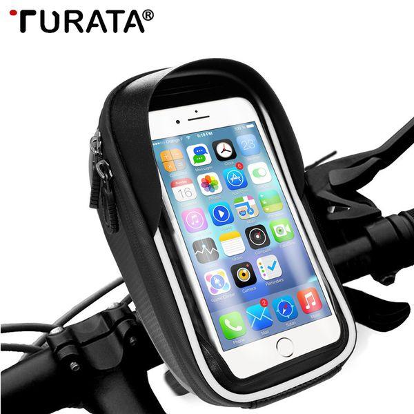 "Turata Universal Waterproof Bike Motorcycle Phone Holder Handlebar Bicycle Mobile Phone Holder For iphone Smartphone Within 6.0"" C18110801"