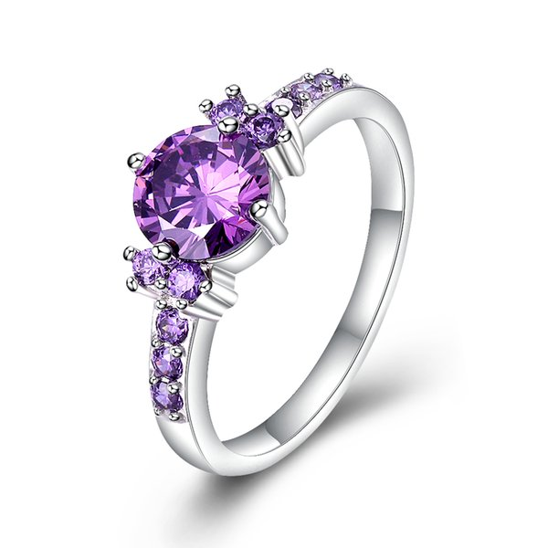 White gold plated Purple Amethyst Jewelry Rings /CZ Jewelry Rings Diamond Engagement Bijoux Luxury Accessories Wedding Rings For Women