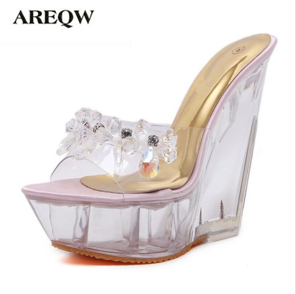 AREQW summer high-heeled cool slippers transparent diamonds crystal shoes wedges metal high heels sandals women nightclub shoes