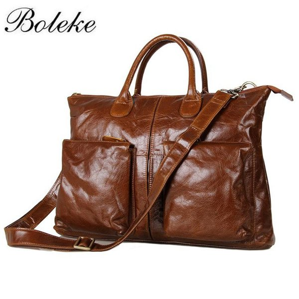 Men Briefcase Full Grain Genuine Leather Handbags Office Bag for Men Messenger Bag Leather 16 inch Laptop Briefcase 7241