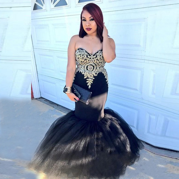 Plus Size Mermaid Prom Dresses 2018 Gold Appliques Lace Black Sweetheart Puffy Tulle Skirt Corset Back Long Formal Evening Wear Gown African