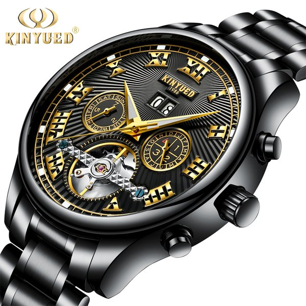 KINYUED Black Automatic Men Tourbillon Mechanical Watches Full Steel Luxury Skeleton Watch Self-Wind Wristwatches Male Reloj S917