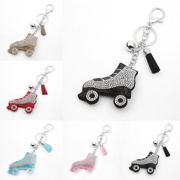 5 styles patins à glace porte-clés strass porte-clés accessoires de voiture sac charme pendentif titulaire titulaire strass patins à glace porte-clés H241Q