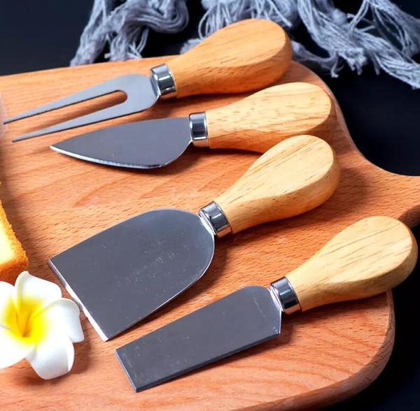top popular 4pcs set Cheese Knife Useful Tools Set Oak Handle Pizza Knife Fork Shovel Kit Graters For Cutting Baking Chesse Board Sets 50set 2019