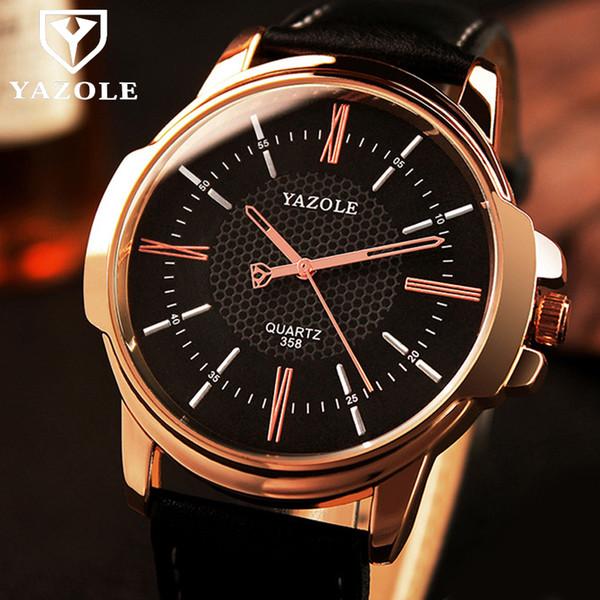 YAZOLE роскошные известные мужские часы бизнес кожаные часы мужские часы  мода досуг платье Джентльмены кварцевые часы e5dc716125f75