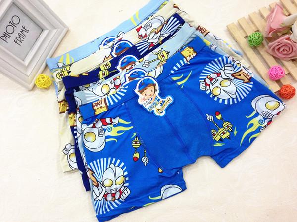 New Boys Bamboo Fiber Ultraman Boxers Cartoon Kids Supermen Underwear Quality Children Modal Cotton Panties Students Underwear 7-12T U1