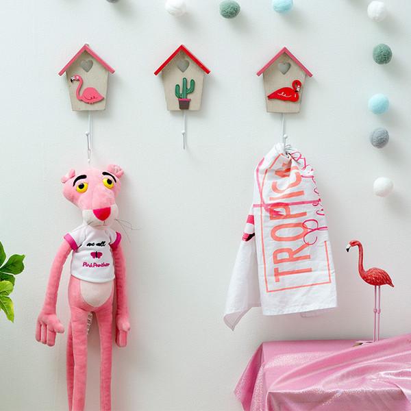 IVYSHION Ins Style Cartoon Wooden Iron Wall Key & Decorative Hooks Flamingo Cactus Coat & Hat Hanger Wall Decor Dropshipping
