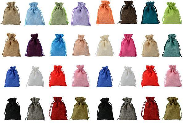 top popular 7x9cm 9x12cm 10x15cm 13x18cm MANY Colors Mini Pouch Jute Bag Linen Hemp Jewelry Gift Pouch drawstring Bags For Wedding favors,beads 2020