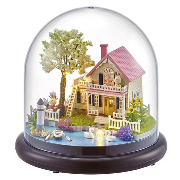 Dollhouse with Glass Cover Mermaid Lover Forever Ferri Wheel Mini DIY Wooden House Kit with LED Light Handmade Doll House Toys