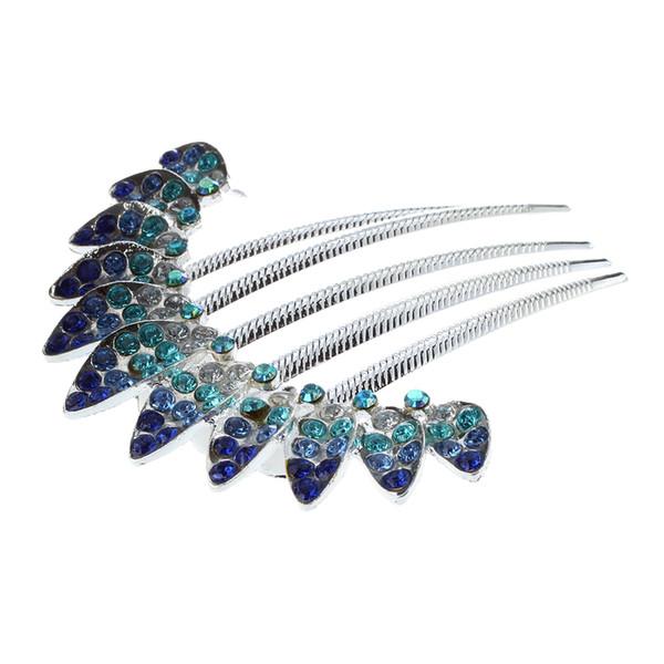 Charm Fashion Lady Girl Flower Pattern Alloy Rhinestone Barrette Hair Clip Comb