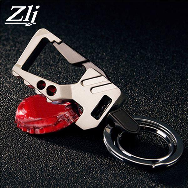 Brand Titanium Steel Men Key chain with Bottle Opener Keychain Key Holder Ring Men Belt Clip Cool Mens Cover Fashion Jewelry
