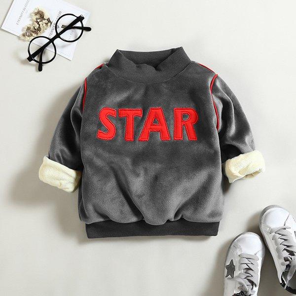 Jungen Sweatshirts Winter Kinder Jungen dicke warme Kleidung Kinder outwear Mantel Sterne Buchstaben Samt Pullover Tops Hoodies