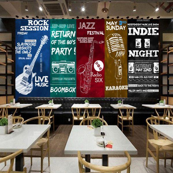 Large 8D Papel Mural Musical Instruments 3D Silk Wallpaper Mural for Rock Bar Coffee KTV Background 3d Photo Mural Wall paper
