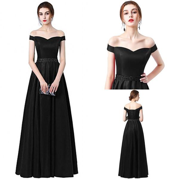 Vestido De Festa A-line Vestido de Noite Longo 2018 Vintage Off The Shoulder Vestidos de Baile Cinto de Cristal Robe De Soiree