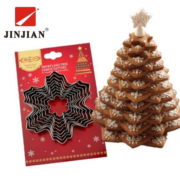 JINJIAN 9pcs Christmas Cookie Cutter Tools Aluminium Alloy Snowflake Shaped Holiday Biscuit Mold Kitchen Cake Decorating Tool