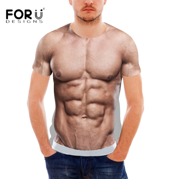 FORUDESIGNS Funny 3D Muscle Print camiseta para hombre diseñador Crossfit Male Casual Tee Shirts Summer Style manga corta hombres Top Tee