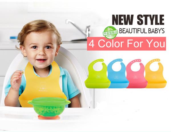 child baby bib Imitation Silica gel four colors lovely beautiful fashion TPE plain baby feeding bibs and burp cloths