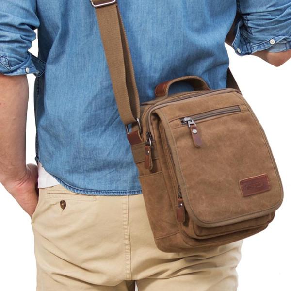 Fashion Men's Bag Shoulder Crossbody Bags For Men Messenger Bag Canvas Plaid Small Male Khaki 2018 Hombre Classical Urban Style