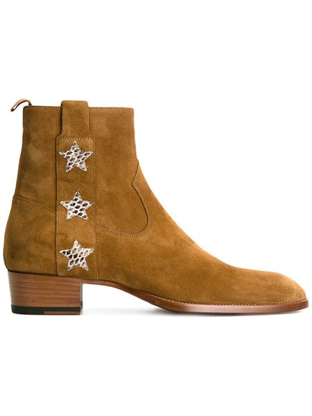 17ss High end luxury customized handmade wyatt harness five-pointed star zip suede men boots chelsea denim martin boots