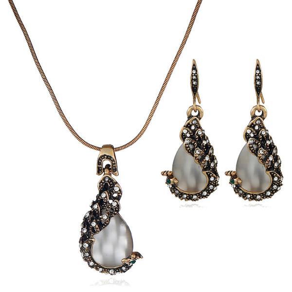 Vintage Su Damlası Kolye Kolye Küpe Seti Rhinestone Opal Dangle Küpe Ayarlanabilir Kolye Kadın Moda Takı Setleri