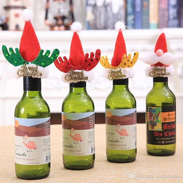 YENI Sevimli Noel Şapka Noel Şarap Şişesi Kapağı Sahipleri Noel Partisi Için Renkli Şişe Setleri / Masa Dekorasyon Malzemeleri
