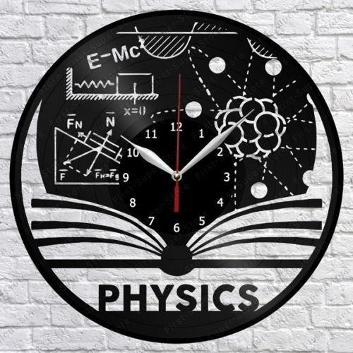 Physics Vinyl Record Wall Clock Fan Art Home Decor Vintage Wall Art The Best Handmade Gifts(Size:12inch Color:Black)