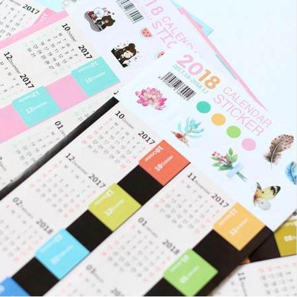 top popular 2 pcs pack New Creative 2018 Year Mark Mini Calendar Stationery Decorative Stickers Label Calendar Sticker 2020