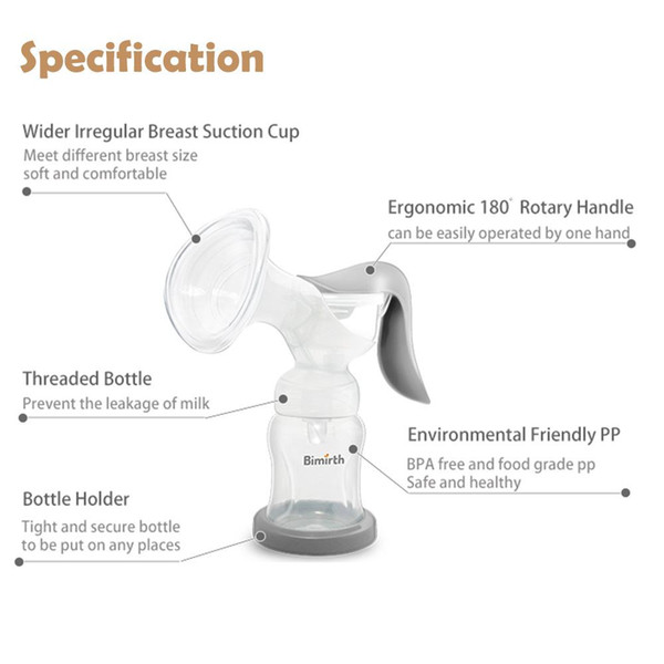 Bimirth Breast Pump 180 Degree Rotary Manual 180ml Feeding Baby Nipple Suction Pumps Milk Bottle Sucking 008#