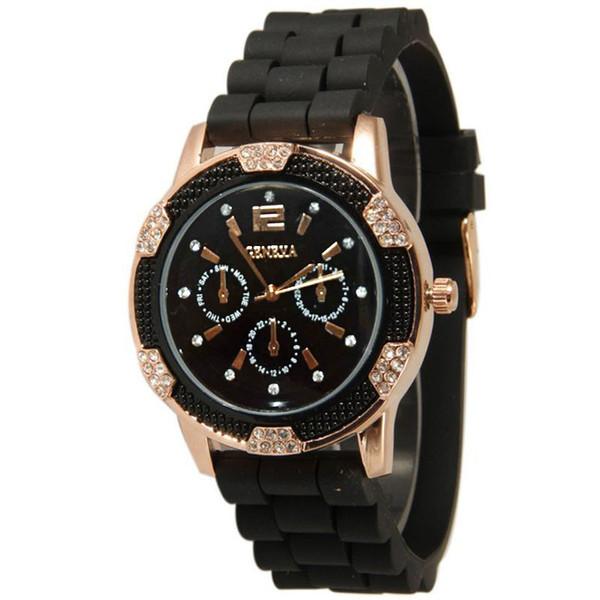 Blackwhite luxo das mulheres de ouro rosa fivela cronógrafo tempo silicone cristal strass bisel relógio esportivo