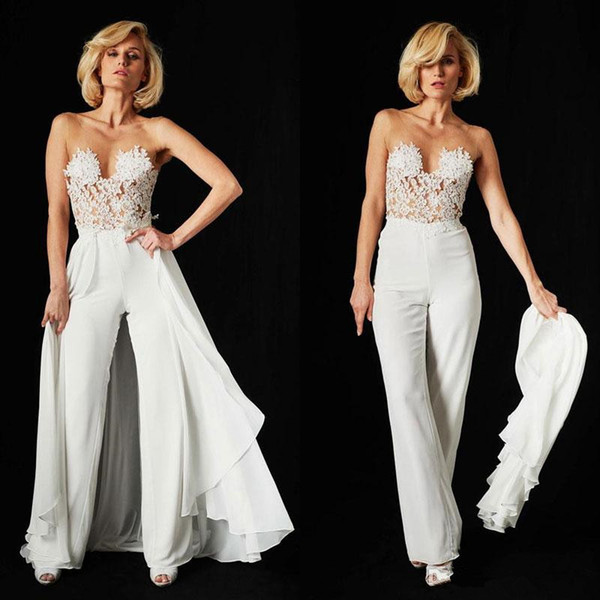 Ines Di Santo Lace Jumpsuit Wedding Dresses with Detachable Train 2018 Sexy Illusion Bodice Chiffon Backless Beach Bridal pant suit Gowns