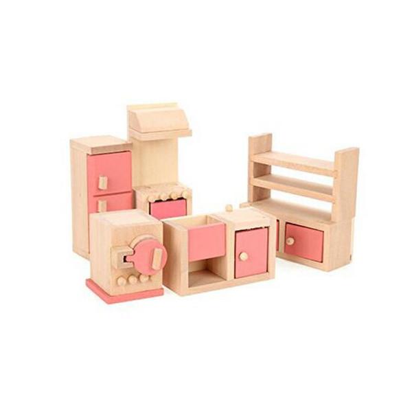 En bois Meubles De Maison De Poupée Modèle Playset Rose Cuisine Miniature Jouet Éducatif Précoce pour Enfant Enfant Bébé Jouer