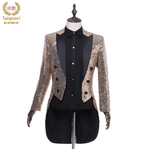 Tang cool 2018 Uomini Squadre Chorus Tails Blazer Tuxedo Host Magician Prom spettacolo teatrale Suit giacche Wedding vestito completo