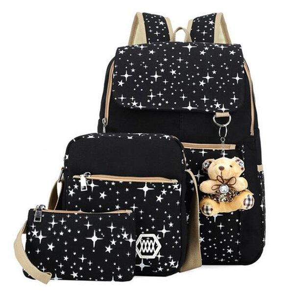 Fashion Women Bag Backpack+Messenger+Small Purse Waterproof Canvas Composite Bags School Blosas For Teenagers 3 Set/Pcs New