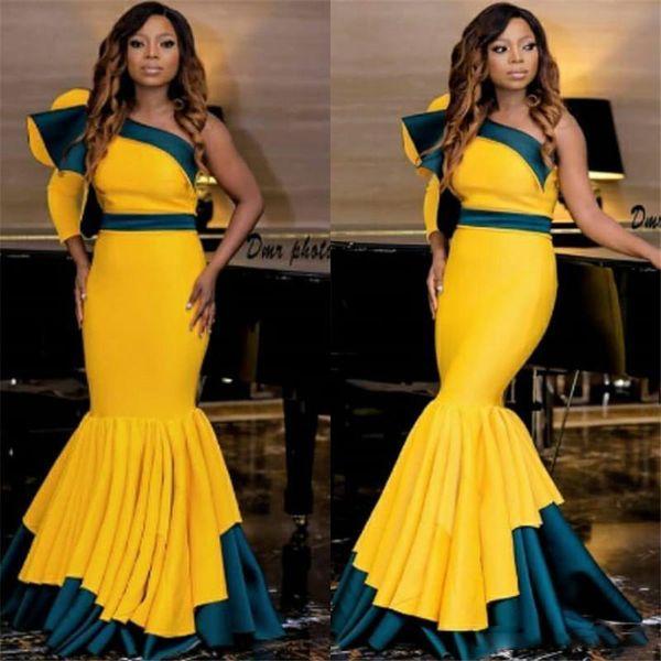 Abiti da ballo a sirena sudafricani Sexy Hunter e abiti da sera monospalla increspati gialli Sweep Train Women Cocktail Party Dress