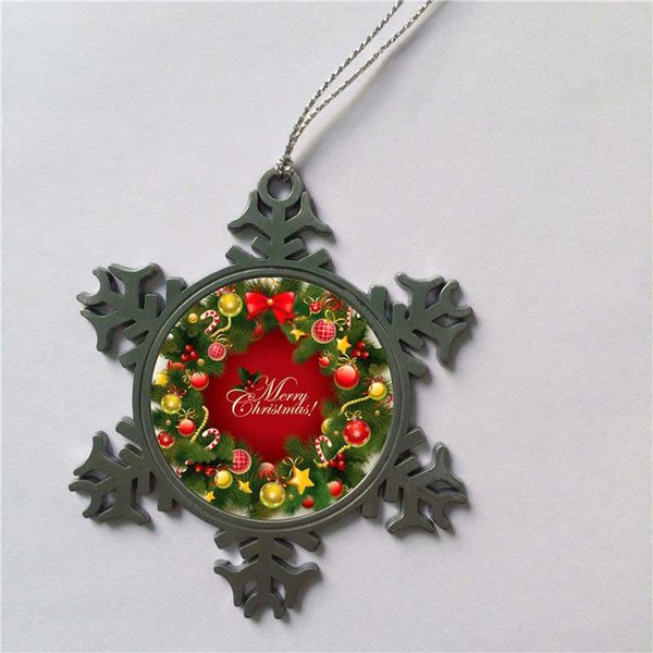 Sublimation Snowflake Metal Christmas Ornament Decorations With Rope Heart  Transfer Printing Blank Diy Personalized Consumables New Style Christmas