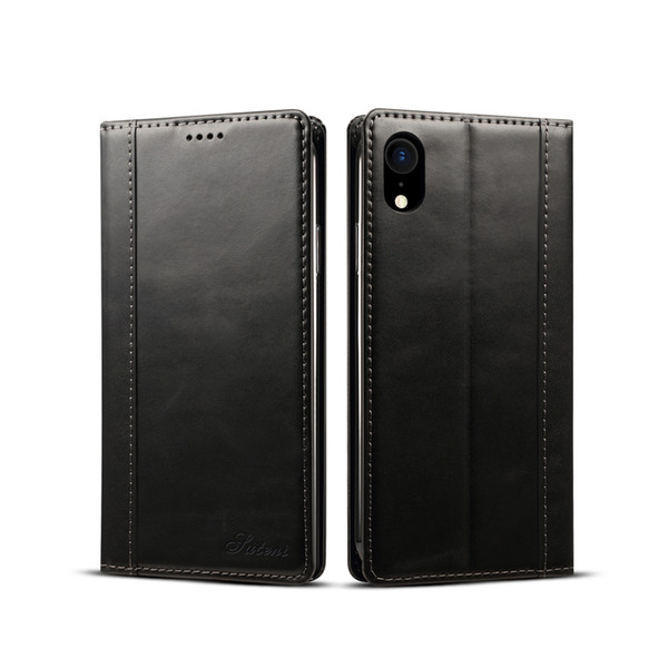 For iPhone XR 6.1inch Genuine Cowhide Cell Phones Protect Leather Case with TPU Case,Card Slot,Realize wireless charging