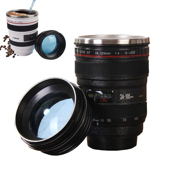 6 Generation SLR Camera Lens Mug water cups With Lid 400ml Portable Stainless Steel Tumbler Travel Vacuum Flask Milk Coffee Mugs Xmas gift