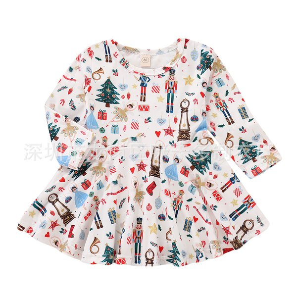 Christmas Gift Cute Toddler Baby Girl Santa Claus skirt white printe Dress Long-Sleeves Skirt Outfits Set