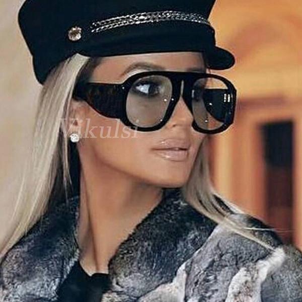 New Classic lunettes de soleil surdimensionnées femmes Vintage marque Designer lunettes de soleil pour les femmes grandes nuances Oculos femme 2018 rétro