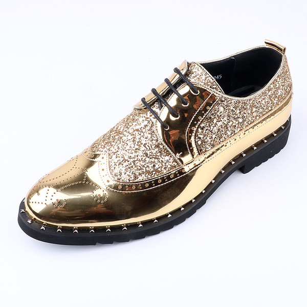 Height Increase mens patent leather shoes brand rhinestones patent leather shiny wedding gold brogue oxford Elevator shoes for men