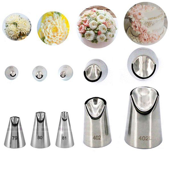 5 pcs Petal stainless steel piping icing nozzle set metal cream tips cake cream decorating pastry tool