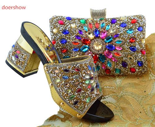 Gold Italian Matching Shoes With Bag Set For Evening Party African Women Sandal And Bag Set For Free Shipping FG1-2205