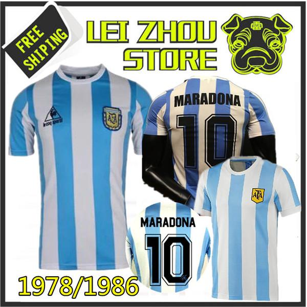 1fc2e942e 1978 1986 Argentina Maradona home Soccer jersey Retro Version 86 78 Maradona  Messi CANIGGIA Quality Football