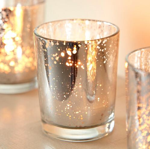 2.5 Inch Tall Glass Mercury Wedding Candle holder in Silver Color wending decoration free shiipping