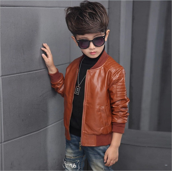 best selling 2018 Boys Pu Leather Jackets Big Boy Casual Coats Kids Zipper Outwear Black Brown 100-160cm Retail