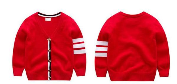 2018 printemps et automne nouveau manteau pull garçons euro-américains bébé cardigan rayé cardigan pur coton tricots livraison gratuite