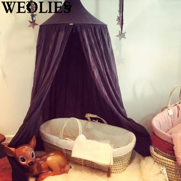 Black Canopy Tents Netting Mosquito Bedding Net Baby Kids Play Reading Dome Mantle Valance Outdoor Home Cotton Camping Textiles