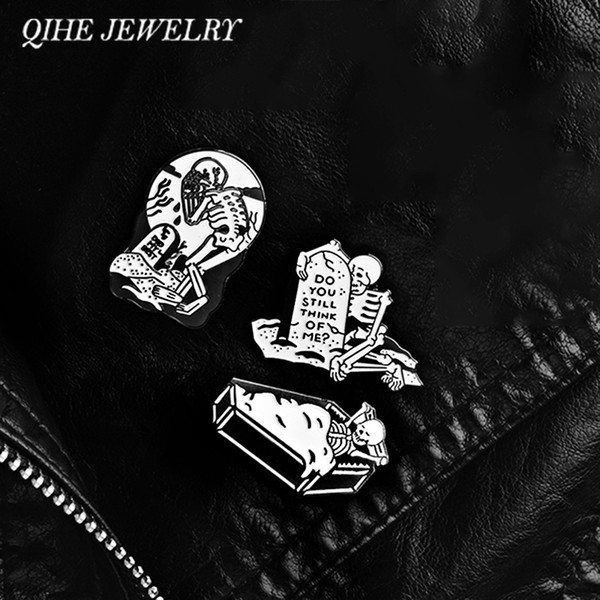 QIHE JEWELRY Tombstone Coffin Crying Skelelton Pins Brooches Lapel pins Badges Punk Halloween Skeleton Jewelry Gift